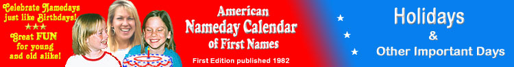American Nameday Calendar - Holidays